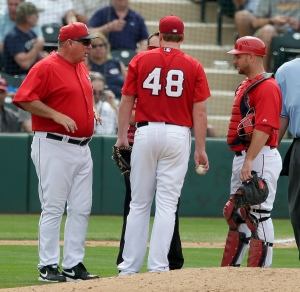 Mike Scioscia, Tommy Hanson, Chris Iannetta